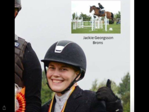 Jackie Georgsson tog Brons, Young Rider, hoppning häst.